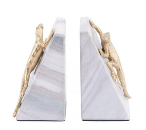 Zuo Modern Iguana Bookends White & Gold