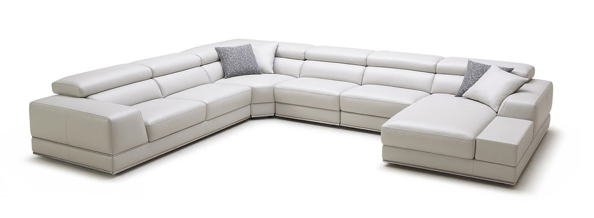 Contemporary White Leather Sectional Sofa with Armrests