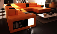 Divani Casa Polaris - Orange Contemporary Bonded Leather Sectional Sofa