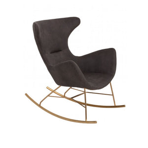 Modrest Cassidy Modern Dark Grey & Gold Velvet Rocking Chair