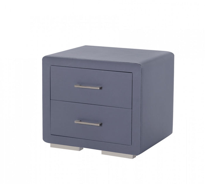 Modrest Burbank Modern Grey Leatherette Nightstand
