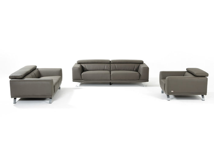 Divani Casa Brustle Modern Dark Grey Eco-Leather Sofa Set