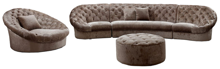 Divani Casa Cosmopolitan - Fabric Sectional Sofa Set, Chair and Ottoman