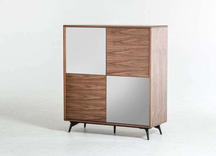 Modrest Kennedy Modern White and Walnut Square Sideboard