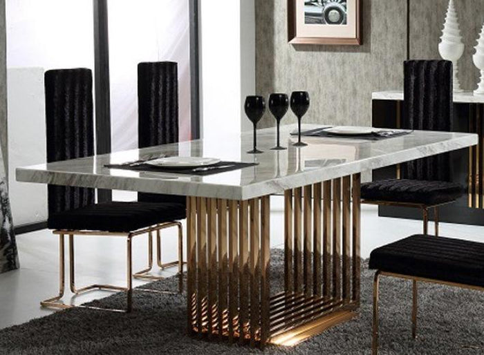 Modrest Kingsley Modern Marble & Rosegold Dining Table
