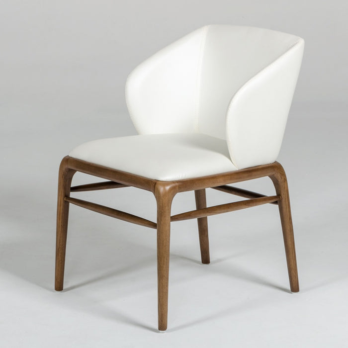 Modrest Kipling Modern Cream & Walnut Arm Dining Chair