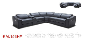 Divani Casa Gentry Modern Grey Eco-Leather Sectional Sofa w/ Power Recliners