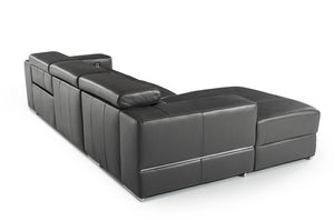 Divani Casa Hilgard Dark Gray Sectional sofa with Chaise and Electric Recliner