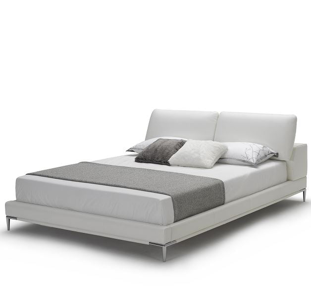 Kuka B177 Upholstered Italian White Leather Queen Size Platform Bed