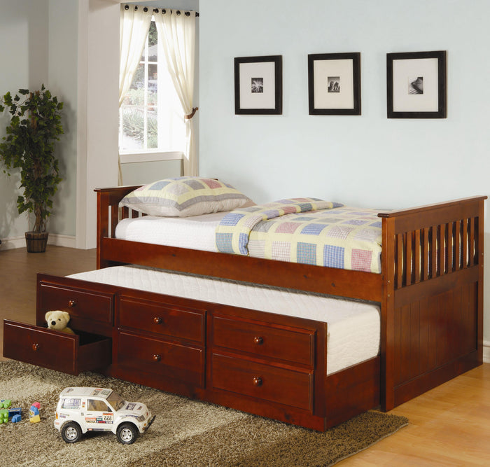 Coaster Furniture Cherry La Salle Twin Captain's Daybed with Trundle and Storage Drawers