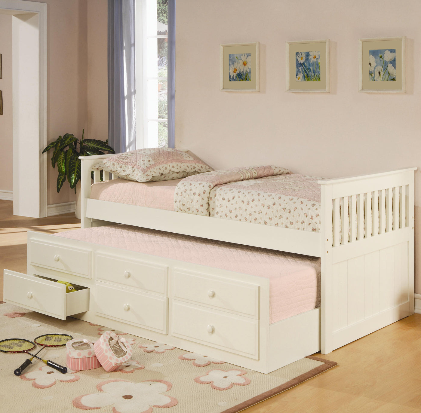 Coaster Furniture White La Salle Twin Captain S Daybed With Trundle An