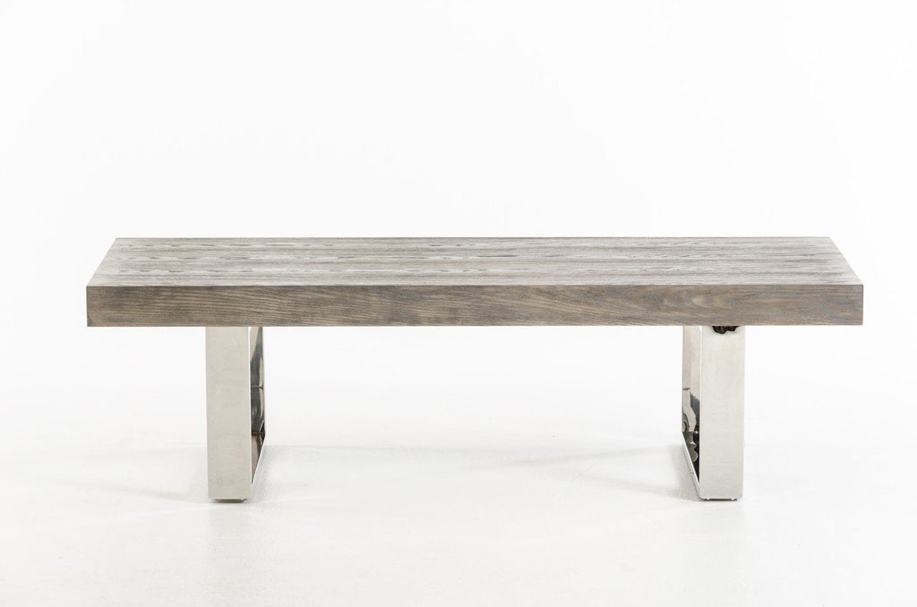 Dining bench with stainless steel legs