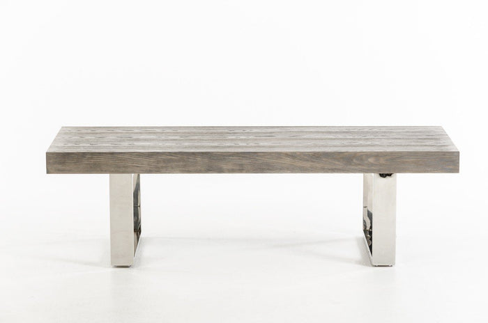 Modrest Lola Modern Grey Brush Dining Bench With Stainless Steel Legs