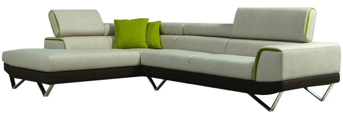 Modern Sectional Sofas With Adjustable Headrest In Fabric