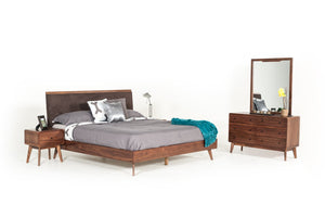 Modrest Marshall Mid-Century Modern Brown Fabric & Walnut Bedroom Set