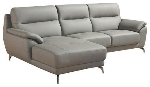 Divani Casa Fortson Gray Leather Left Facing Chaise Sectional Sofa