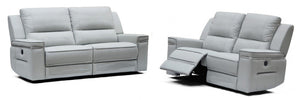 Hearst Modern Grey Leather Electric Recliner Sofa Set