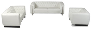 Divani Casa Salvia Modern White Leatherette Sofa Set