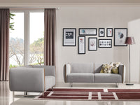Divani Casa Medora Modern Grey & Yellow Fabric Sofa Set