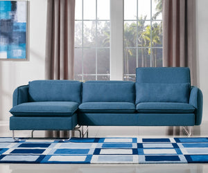 Divani Casa Aleida Modern Blue Fabric Sectional Sofa