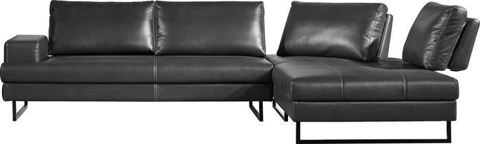 Divani Casa Bowery Charcoal Gray Sectional Sofa with Chaise Lounge