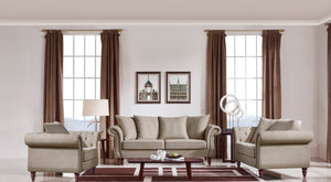 Beige Contemporary Sofa Set