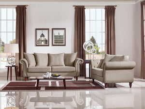 Divani Casa Nadine Transitional Beige Contemporary Sofa Set