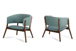 Dante - Modern Blue Fabric & Walnut Accent Chair (Set of 2)