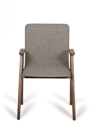 Maddox - Modern Sesame Linen Fabric & Walnut Dining Chair (Set of 2)