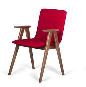 Maddox - Modern Red Fabric & Walnut Dining Chair (Set of 2)