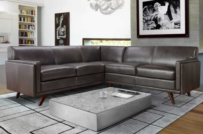 Moroni 361 Milo Leather 2 Piece Sectional * (CURRENTLY ON FURNITURE SHOWROOM FLOOR)