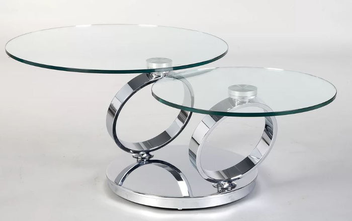 Creative Image Round Glass Motion Table * (CURRENTLY ON FURNITURE SHOWROOM FLOOR)