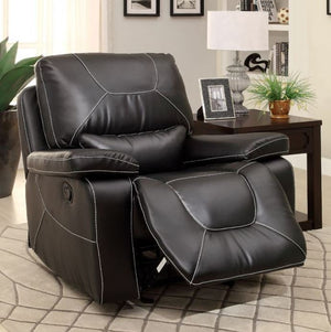Furniture Of America Newburg Black Leather Recliner Chair