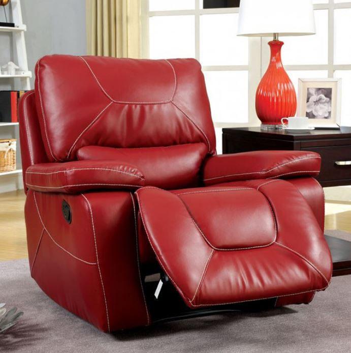 Furniture Of America Newburg Red Leather Recliner Chair