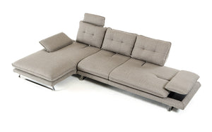 Divani Casa Porter Grey Fabric Sectional Sofas with Adjustable Backrest