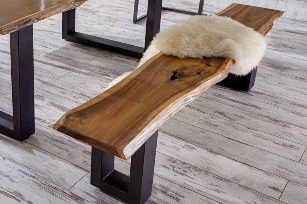 Modrest Taylor Modern Live Edge Acacia Wood Dining Bench