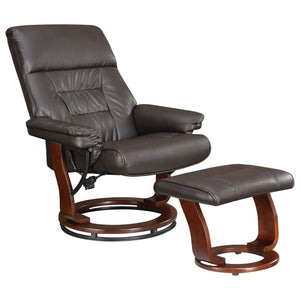 Coaster Furniture Chocolate Glider Recliner Chair with Matching Ottoman
