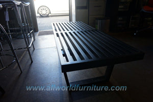 "George Nelson Mid-Century Inspired 48"" (4 Foot) Slat Platform Bench in Solid Birch Black CT3001"