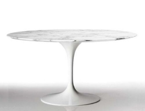 "Saarinen Inspired Tulip 47"" Round Italian White Carrara Marble Dining Table"