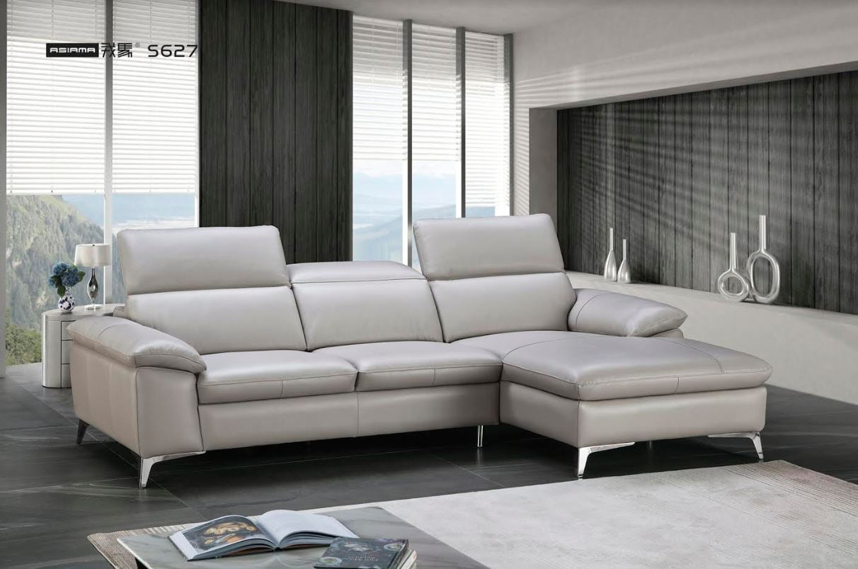Asiama Angela S627 Top Grain Italian Leather Sectional Sofa * (CURRENTLY ON  SHOWROOM FLOOR)