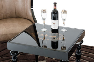 A&X Saure Transitional Black Gloss End Table