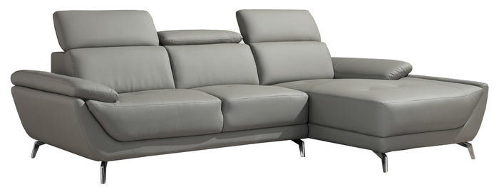 Divani Casa Sterling Modern Light Grey Leather Sectional Sofa