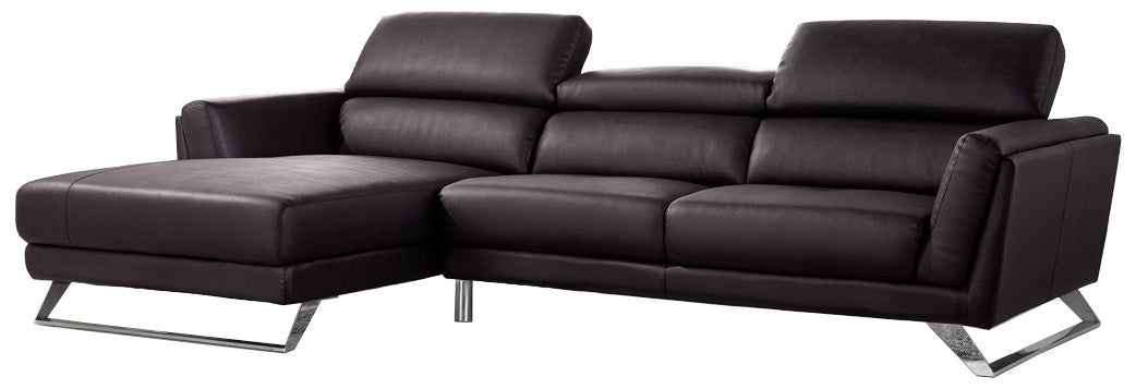 Black Leather Sectional Sofa with Chaise - Divani Casa Doss