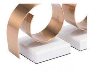 Zuo Modern Rizz Bookends White & Gold