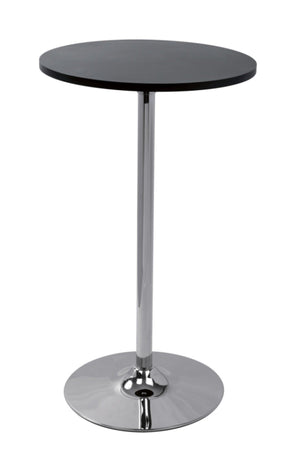 Modrest Tal - Contemporary Black Matte Bar Table with Chrome Base