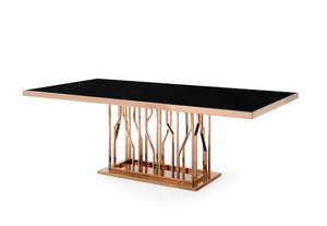 Modrest Marston Modern Black Glass & Rosegold Dining Table