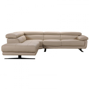 Divani Casa Gypsum Taupe Leather Sectional Sofa with Chaise