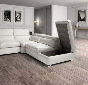 Estro Salotti Vertigo Modern White Leather Sectional Sofa w/ Storage