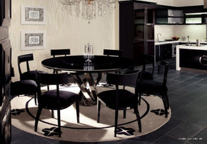 A&X Spiral - Round Black Crocodile Lacquer Dining Table w Lazy Susan