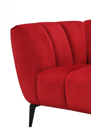 Divani Casa Morton Red Modern Sectional Sofa with Right Facing Chaise